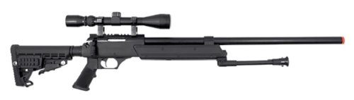 WELL Heavy Weight Spring Airsoft Sniper Rifle with Scope & Bipod